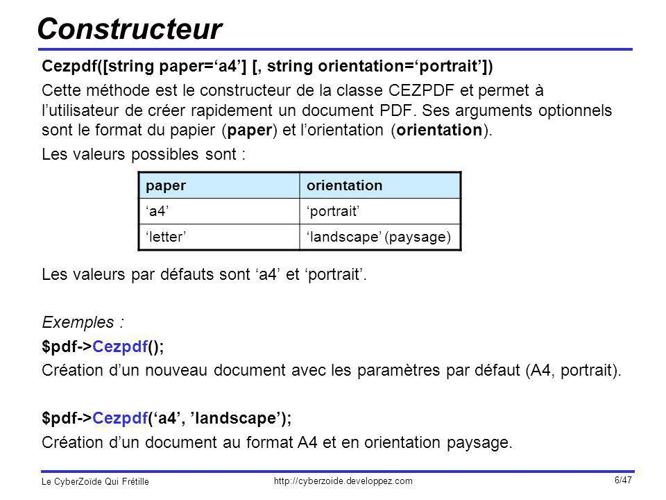 Constructeur Cezpdf([string paper='a4'] [, string orientation='portrait'])
